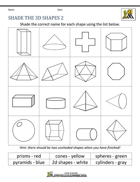 worksheets shapes grade 2 3d shapes worksheets 2nd grade