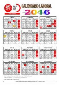Calendario 2018 Alicante Calendario Laboral 2016 Secci 243 N Sindical De La Ugt En El