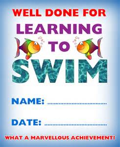 certificate of achievement well done for learning to swim