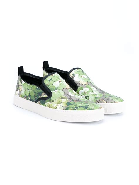 Wedges Gucci Flowers Black Wd05 lyst gucci floral printed leather shoes in green for