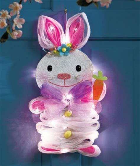 lighted easter bunny cordless battery operated mesh door