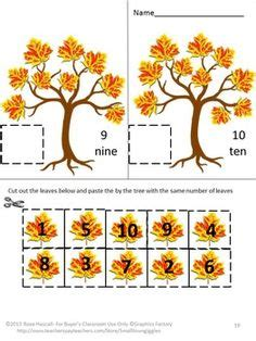 Fall Cut And Paste Worksheets by No Prep Fall Cut And Paste Kindergarten Math Worksheets