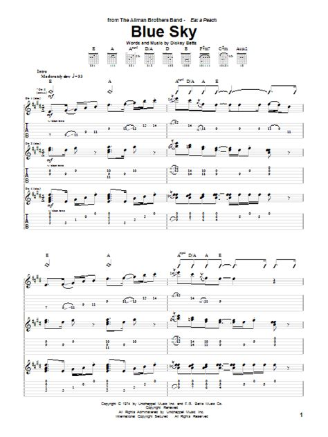 blue song chords blue sky guitar tab by the allman brothers band guitar