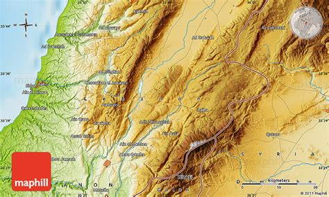 physical map of lebanon physical map of sidon
