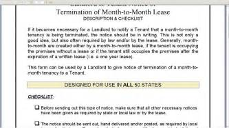 Lease Termination Letter Month To Month Notice Of Termination Of Month To Month Lease