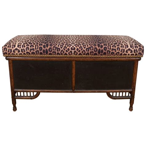 victorian faux bamboo storage bench with upholstered