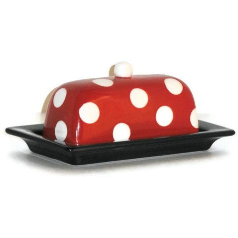 Buter Polca ceramic butter dish in and black with white polka dots