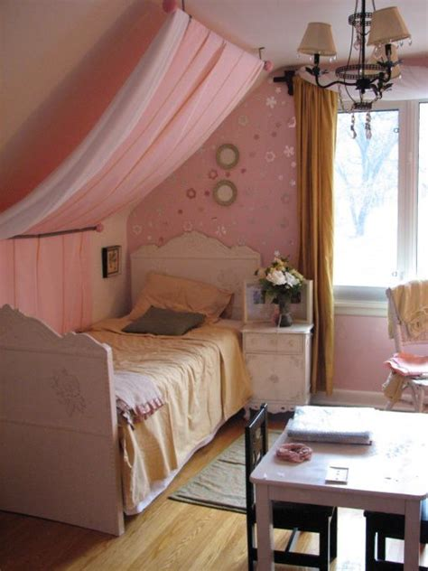 guest bedroom decor ideas attic bedrooms with slanted i love this idea since my girls share a bedroom w slanted