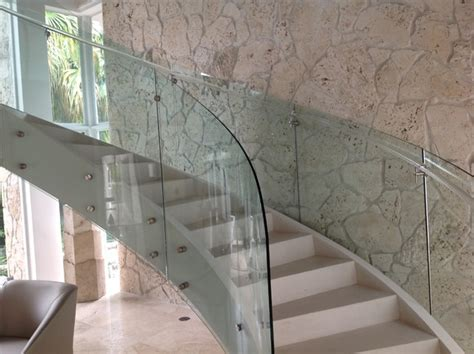 Houzz Kitchen Island Ideas Curved Glass Railing Custom Curved Glass Stair