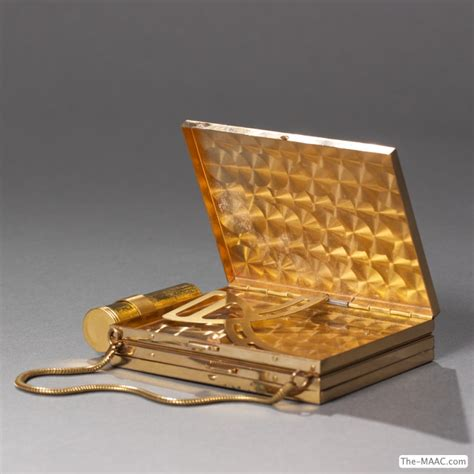 Metal Makeup Vanity Gold Plated Vintage 1940s Ladies Compact And Cigarette