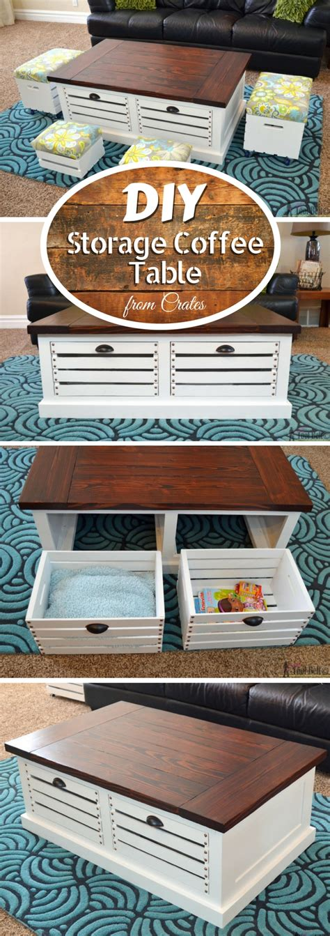 Coffee Table With Storage Stools by Diy Crate Storage Coffee Table With Stools