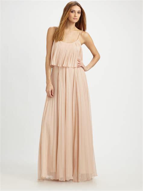 Bw0051 Maxi Dress Pink pleated chiffon maxi dress in pink lyst