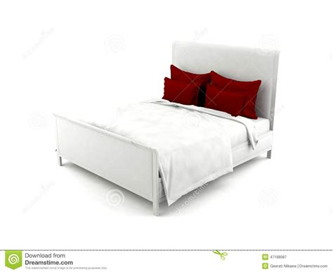 white bed pillows white bed with red pillows stock illustration image