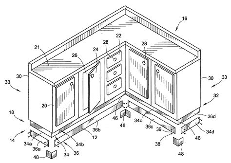 Kitchen Cabinet Face Frame Dimensions by Patent Us6840591 Metallic Toe Kick For Wooden Cabinets