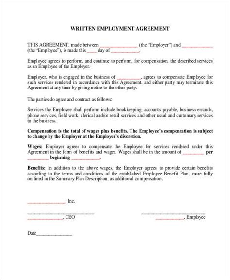 written agreement template employment agreement contract 12 best images of sle of