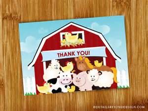 items similar to big barn farm animals birthday thank you card on etsy