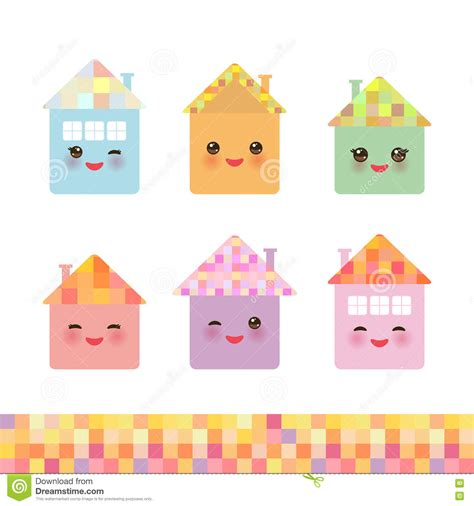 Cottage By Kawai happy house set kawaii smile pink cheeks big pastel colors vector stock