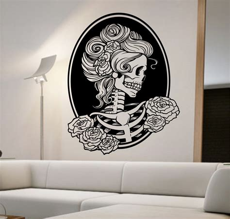 Skull Decorations For The Home Day Of The Dead Vinyl Wall Decal Sticker Decor Bedroom Design Mural Sugar Skull Home