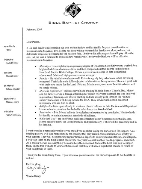 Letter Of Recommendation Youth Pastor sle recommendation letter from church pastor cover