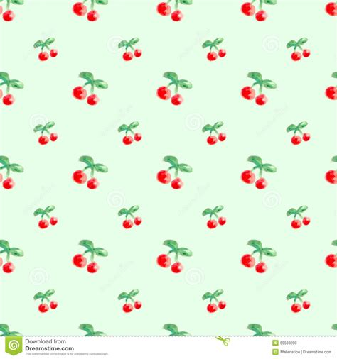 cherry pattern vector art seamless pattern with watercolor berry cherry in light