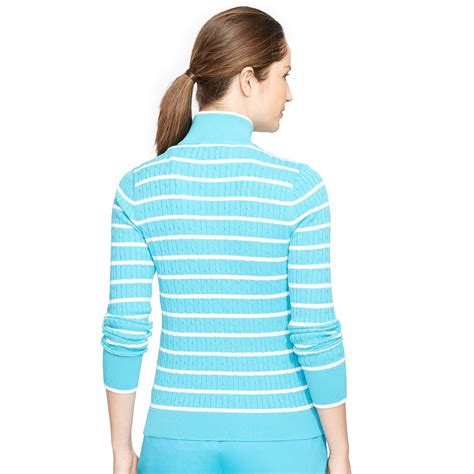 ralph cable knit sweater lyst ralph cable knit mockneck sweater in blue