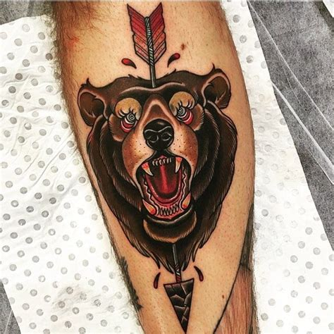 american traditional bear tattoo traditional creativefan