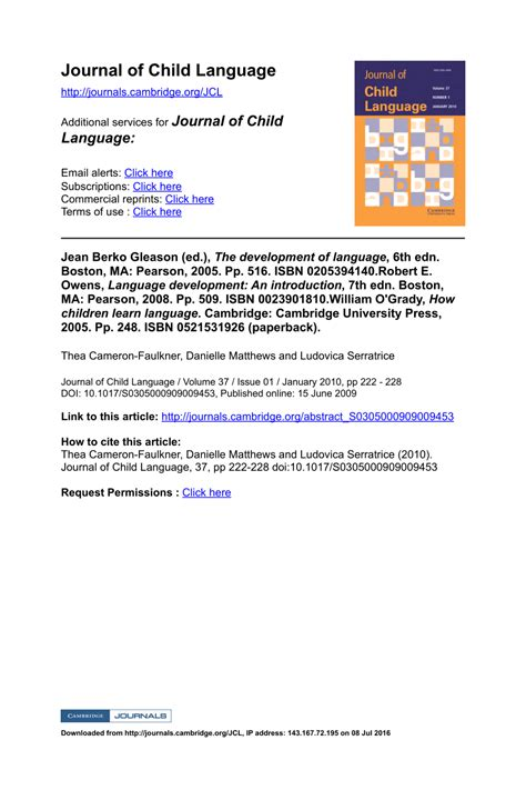 how children learn language 0521531926 jean berko gleason ed the development pdf download available
