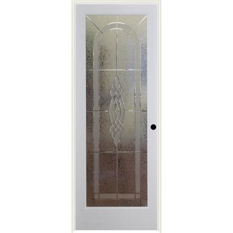 Prehung Interior Door With Glass Shop Reliabilt Cameron Solid Etched Glass Single Prehung Interior Door Common 36 In X 80