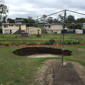 backyard sinkhole sinkhole swallows part of ipswich backyard abandoned mine