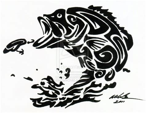 tribal fish tattoo the gallery for gt bass drawing