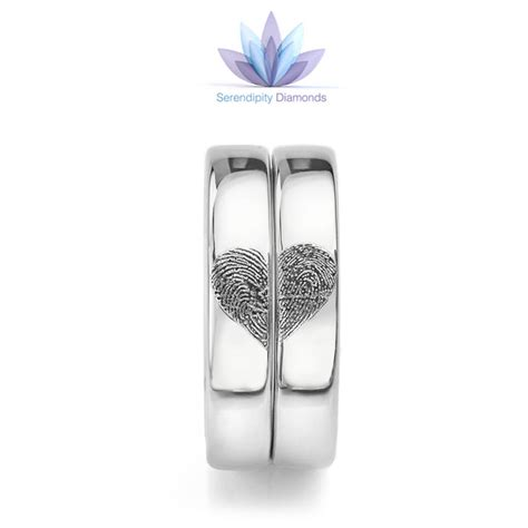 Wedding Bands With Hearts by Fingerprint Wedding Rings Fingerprint