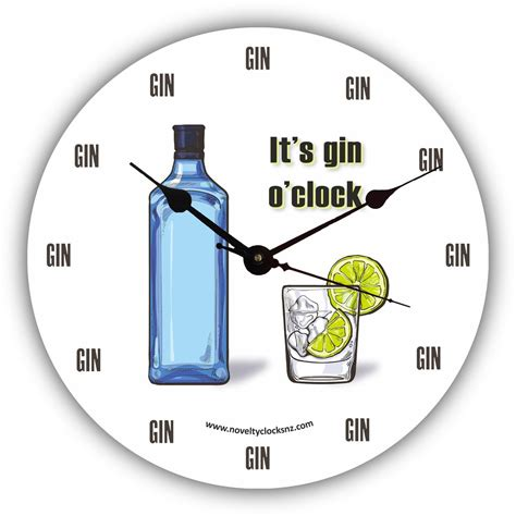 themes o clock it s gin o clock bar theme novelty clock novelty clocks nz