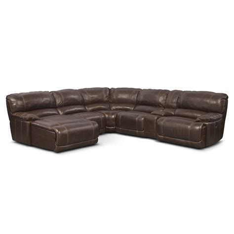 Power Reclining Sectional Sofa With Chaise St Malo 6 Power Reclining Sectional With Left Facing Chaise Brown American Signature
