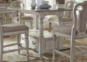 white counter height dining table magnolia manor antique white rectangular counter height