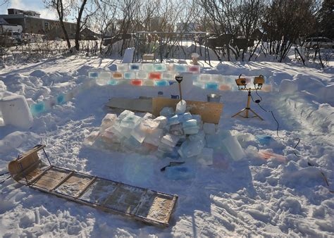 backyard turned colorful fort made of blocks of wave