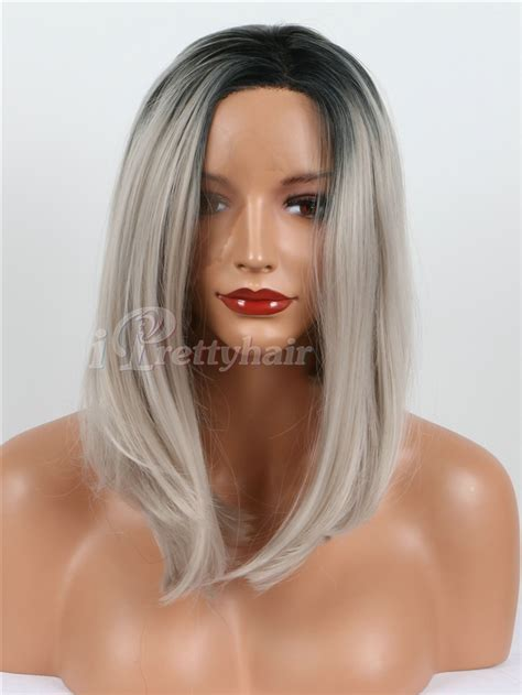 ebony two toned colored bobs free shipping short hair wigs black silver grey two tone