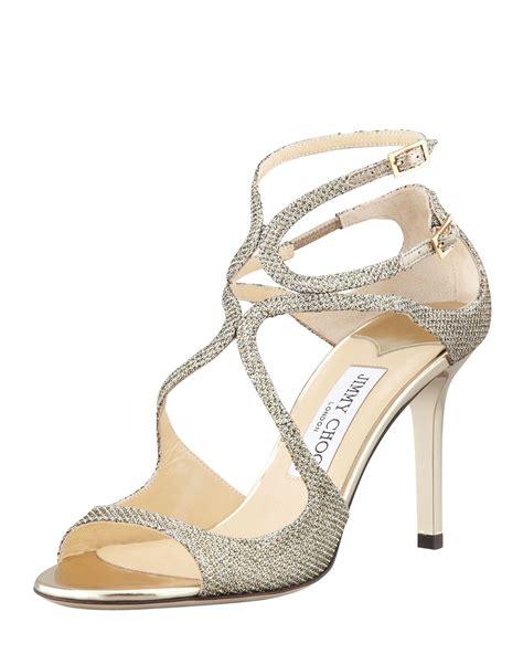 Sandal Heels Ip21 3 lyst jimmy choo ivette glitter fabric crisscross sandal in metallic