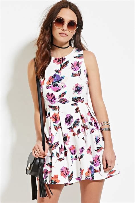 Yuana Flowery Flare Mini Dress forever 21 floral fit flare dress in white lyst