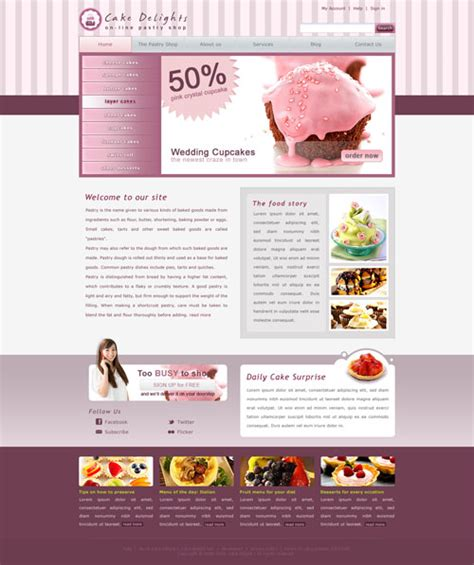 cake websites cake website template free website templates