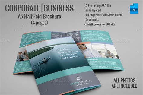 A5 Half Fold Brochure 4 Pages Brochure Templates On Creative Market Four Page Booklet Template