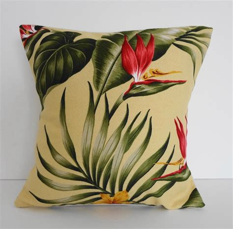 Tropical Throw Pillows For by Tropical Throw Pillow Cover Hawaiian Print 12x12 Yellow