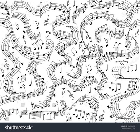 pattern recognition handwritten notes musical vector seamless pattern handwritten notes stock