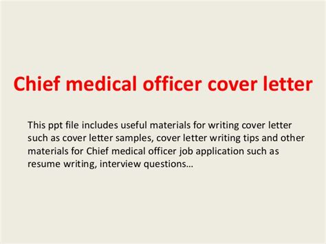 Health Officer Cover Letter by Chief Officer Cover Letter