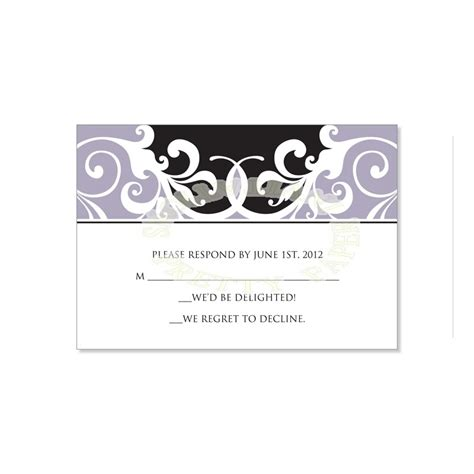 wedding response card template black gray rsvp card