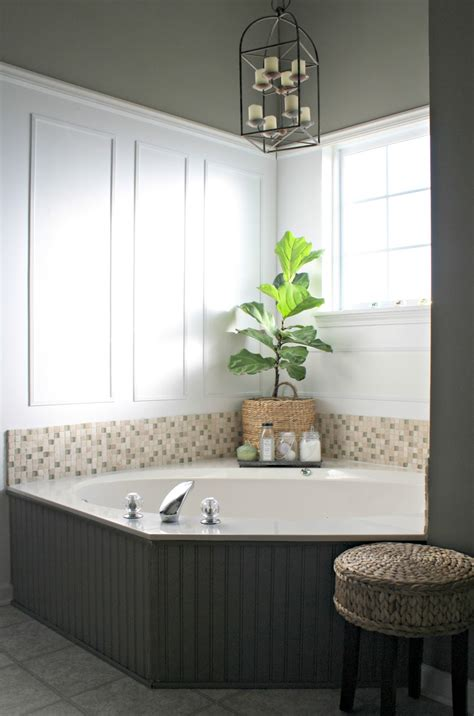 corner tub bathroom ideas master bathroom reno plans from thrifty decor