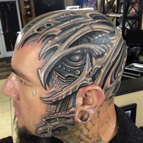 artistic element tattoo biomech skull by abrego artistic element