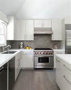 grey brick backsplash white kitchen with gray floor tiles design ideas