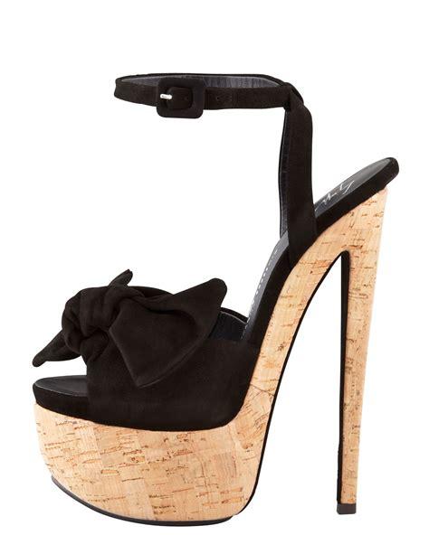 Wedges Black Bow Termurahh lyst giuseppe zanotti suede bow cork platform sandals in black