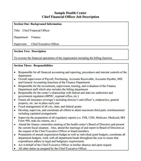 officer description template 10 chief financial officer description templates