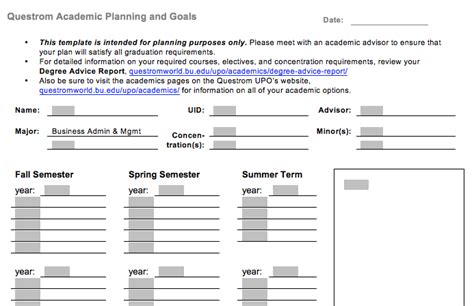 course planning template undergraduate academic career